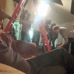 ACTION - Mike sleeping on the set
